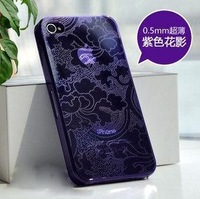 Flower design Transparent Crystal Hard Phone Case for iPhone 5 Free Shipping