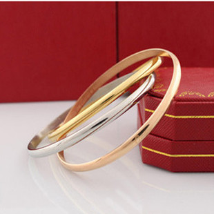 Titanium Free Shipping Three-ring Stainless Steel Three Color Gold Plated Gold/Rose gold/Silver Bangle Bracelets