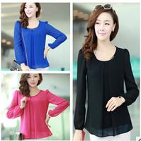9 colors 2014 NEW hot sale  European spring &summer women long sleeve chiffon blouse shirts woman plus size blouse YC-B33291-S17