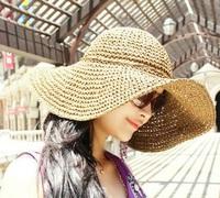 Fashion wholesale wide brim straw bow beach hat cap travel accessories
