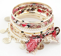 Minimum Order $ (12 mixed order) Free Shipping 2013 new fashion bow multilayer woven beads bracelet for women