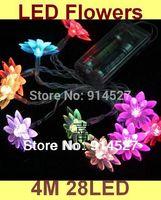 Free Shipping Holiday 4M 28 LED Flower Blossom String Lights 220V 110V Multi Colors RGB Christmas Xmas Wedding Decorations