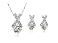 free shipping _ 925 Sterling Silver Eight hearts and eight arrows intersection Zircon Earrings Necklace Set - xj-1116-10