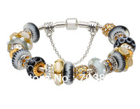 White and black murano glass beads gold plated charms European complete beaded Mother's Day Gifts silver bracelet BE71