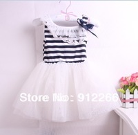Up $199 Mix order EMS/FEDEX to AU/US/UK/NL,   girls  girl tutu dress baby  Striped cotton lace dress,13APR27