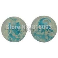 Handmade Luminous Lampwork Beads,  Round,  DeepSkyBlue,  8mm,  Hole: 1.5mm