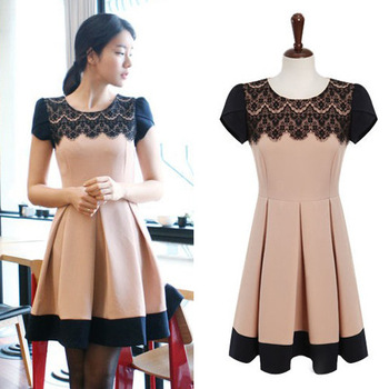 Sales And Free Shipping New Ladies Fashion Cute Lace Neck Patchwork Color Slim Waist Pleated Dress 2015 Summer Dresses Women