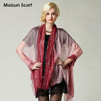 Latest 170x140cm 6mm Real silk silver thread long chiffon scarf