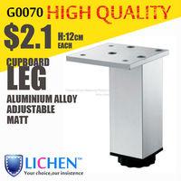 Chinese Factory LICHEN G0070 Quadrangle adjustable Metal Aluminium alloy Cabinet Sofa Furniture leg (4 pieces/lot) 120 height