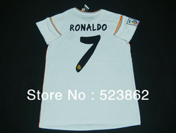 Thailand Quality 7 RONALDO Real Madrid 2013 2014 Customized Fans Soccer Jersey Football Uniforms Cheap Shirt Home White Discount(China (Mainland))