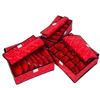3pcs/lot Free Shipping Cheap Sales Household  Underwear, Bra,  Socks, Organizers Storage  Case Boxes With A Cover  Red  Pink
