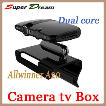 Newest EU3000(updated by EU2000/HD2) 5.0M camera Mic Allwinner A20 dual core RAM 1GB/8GB skype android 4.2 mini pc tv box&sticks