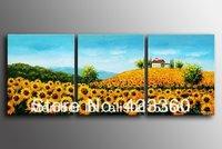 100% Handpainted Golden sunflower slop  Abstract landscape  Oil Painting on canvas 3pcs/set