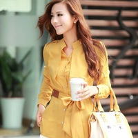 Candy Colors Elegant Women Career Chiffon Blouses Size S-2XL Lantern Sleeve Design Temperament Lady Office Shirt D1291