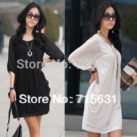2014 Women's Summer New Fashion One-Piece Dress Plus Size Chiffon Dress Black And White, M L XL XXL 3L 4XL