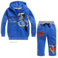 Free shipping 5 sets/lot 2014 Hot Hooded Sweatshirt Sets for Children Cartoon Thicken Sweat Suit Cloth with Soft Nap Witter Sets