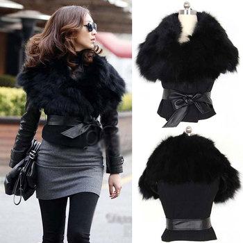 2014 New Fall Hot Sale Womens Faux Fox Fur Vest Sexy leather belt Waistcoat Ladies Sleeveless short fur vests coat Casual gilet