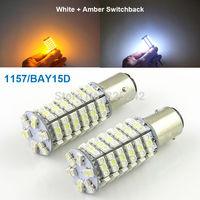 Excellent 2 pcs Dual Color Switchback 1157/BAY15D Original 1210 SMD 120 LEDs car LED light bulb,Cold White + Amber Color