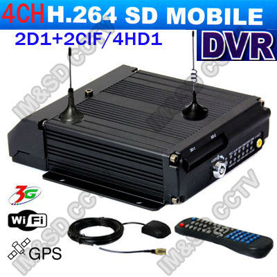 CCTV 4CH Car SD card Mobile DVR for vehicle 4CH 2D1+2CIF Dual SD Card Mobile Car DVR With 3G(WCDMA/ EVDO) WIFI GPS Modules(China (Mainland))