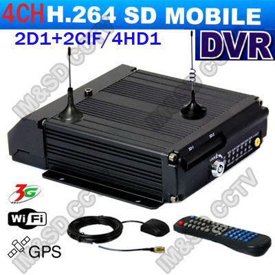 CCTV 4CH Car SD card Mobile DVR for vehicle 4CH 2D1+2CIF Dual SD Card Mobile Car DVR With 3G(WCDMA/ EVDO) WIFI GPS Modules(China (Mainland))