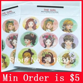 Min Order is $5,(1 Lot=45 Pcs Round) DIY Scrapbooking Retro Sweet Girl Paper Album Stickers Envelope Seal Sticker(China (Mainland))