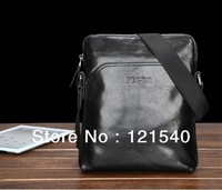 Free shipping FEGER Genuine Leather Fashion shoulder Messenger Bag for Men Black