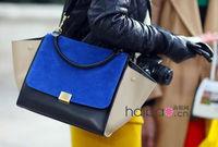 2013 New Fashion Trapeze high quality big ears bag smiley bag swing bag one shoulder women's  block vintage handbag