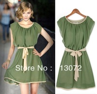 QZ269 New Fashion Ladies' elegant chiffon Dresses butterfly sleeve sexy evening party prom Vintage cascul slim dress