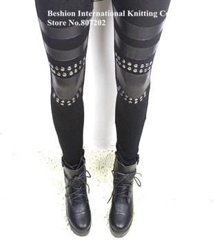 Wholesale Women Punk Knee Rivet Studs Spike Faux Leather Patch black Leggings Legwear