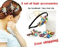 Korean Boutique Hair Accessories 3 Set Rhinestone Jewelry Hair Barrettes Hair Clip Headband Hairband Bride Hair Accessories