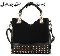 HOT! Fashion personality rivet patchwork one shoulder women handbag women leather handbag big bag  free shipping