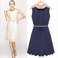 Free Shipping 2013 Ladies Elegant Sleeveless Pleated Dresses with Belt Soft Chiffon Peter Pan Collar Mid-calf Dress LY121039