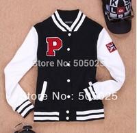 New women's new Autumn & winter unisex letter P varsity Jacket Patchwork baseball coat Fleece Plush Cardigan sweatshirts S-XL
