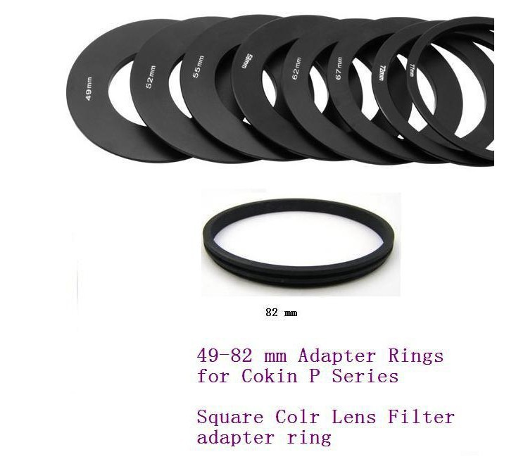 New Quality Black Metal 49 52 55 58 62 67 72 77 82mm Adapter Ring A Fulll Set for Cokin P Series dslr Camera Macro(China (Mainland))
