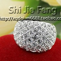 wholesale 18k gold plated ring Nickle free antiallergic Engagement crystal Rings white gold plated ring for female