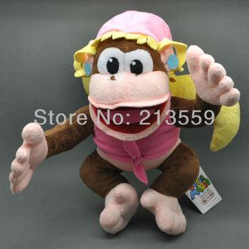 "Free Shipping EMS 20/Lot Cute Super Mario Bros Dixie Kong Plush Dolls Toy 10"" New Retail"