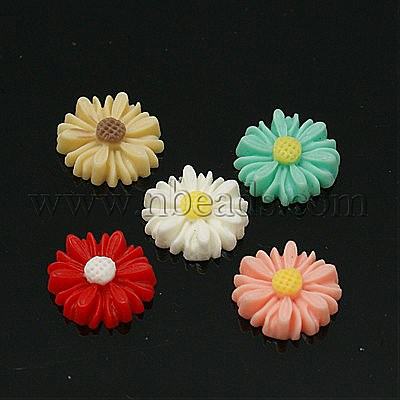 Resin Cabochons, Flower, for Costume & Headwear and Earring Decoration, Mixed Color, 13x4mm(China (Mainland))