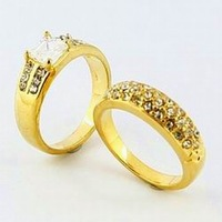 New Arrival Fashion 24k Gold Plated Mens Jewelry Sets Yellow Gold Golden Ring Fashion Rings Free Shipping YHDS024