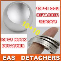 DHL shipping 10pcs  hook detacher eas hook +10pcs universal magnetic detacher golf detacher 12000gs