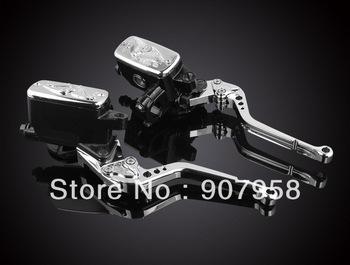 "New !  Motorcycle Kwasak 7/8"" Front Brake & Clutch Levers Dual Master Cylinder Fluid Reservoir Full Kit Silver"