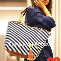 holiday sale bags Handbags fashion women Stripe Street Snap Candid Tote Canvas Shoulder Bag drop shipping 5361