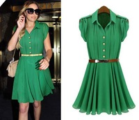 Free Shipping !2013 summer new short-sleeved lapel single-breasted waist flounced dress the woman's colthing