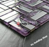 Stainless steel mosaic tile purple glass mosaic kitchen backsplash tiles SSMT025 glossy stainless steel mosaic glass mosaic tile