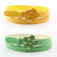 Sweet japanned decorative flower buckle belt women's leather thin belt