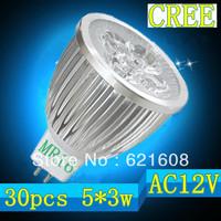 Free shipping 30pcs/lot  MR16 gu5.3 e27 e14 gu10 15W 5x3W CREE dimmable High power Spotlight LED Bulb Lamp LED Lighting