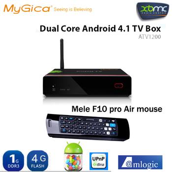 Free Mele F10 Pro + Branded Geniatech Mygica ATV1200 Enjoy TV Android 4.1 Amlogic 8726 M6 Dual Core Cortex A9 Google TV Box XBMC