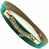 2013 Autumn Fashion Gold Metal Chain Thin Belts Female Strap Belt Belly Chain For Women Straps Womens PU Leather belt