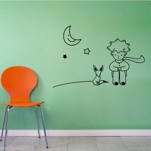 The Little Prince Fox Moon Star Decor Mural Art Wall Sticker Decal WY754(China (Mainland))
