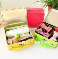 Candy color portable tinplate box desktop creative storage with locking storage box