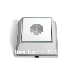 Hot Sale Unique Square Crystal Display Base Stand 4 LED Light jewelry holder T39 free shipping(China (Mainland))